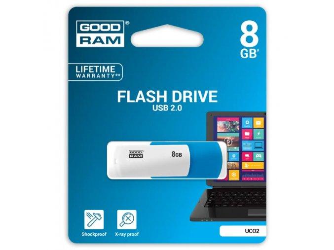 Goodram USB flash disk, USB 2.0, 8GB, UCO2, modrý, UCO2-0080MXR11, USB A, s otočnou krytkou