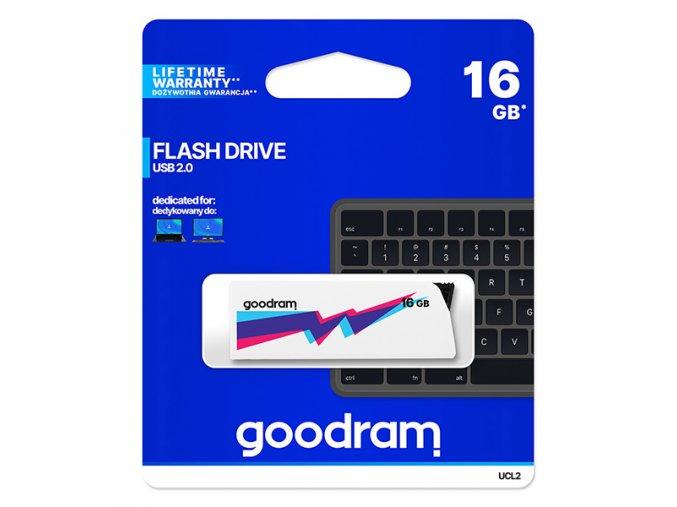 Goodram USB flash disk, USB 2.0, 16GB, UCL2, bílý, UCL2-0160W0R11, USB A, vysouvací konektor