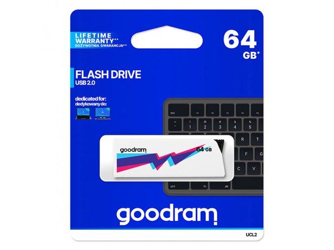 Goodram USB flash disk, USB 2.0, 64GB, UCL2, bílý, UCL2-0640W0R11, USB A, s výsuvným konektorem