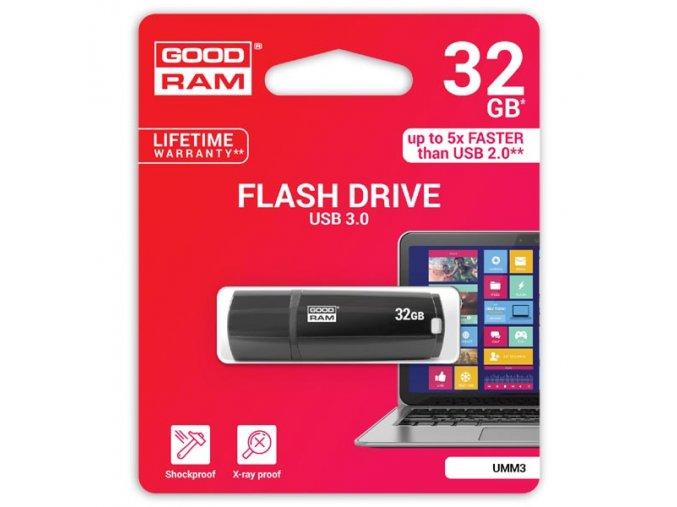 Goodram USB flash disk, USB 3.0 (3.2 Gen 1), 32GB, UMM3, černý, UMM3-0320K0R11, USB A, s krytkou