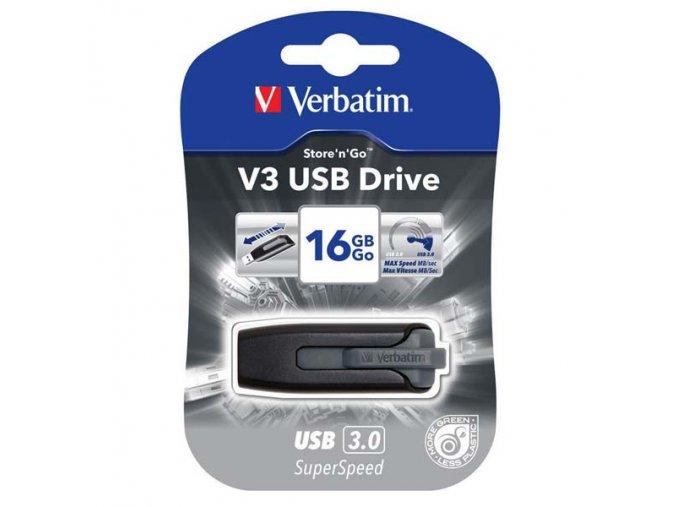Verbatim USB flash disk, USB 3.0 (3.2 Gen 1), 16GB, V3, Store N Go, černý, 49172, USB A, s výsuvným konektorem