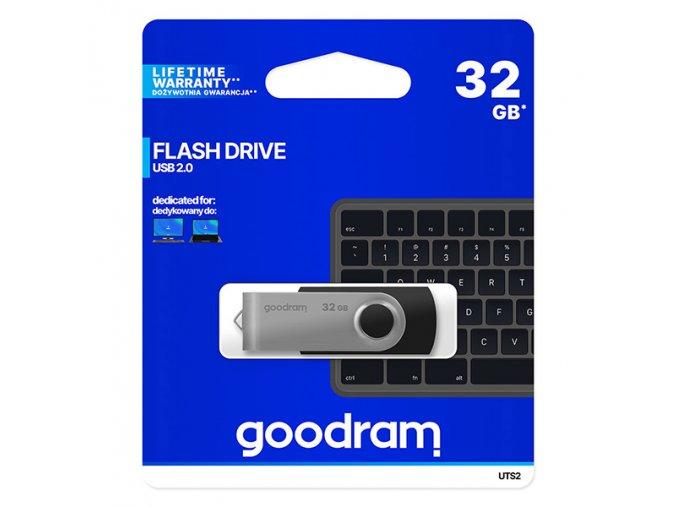 Goodram USB flash disk, USB 2.0, 32GB, UTS2, černý, UTS2-0320K0R11, USB A, s otočnou krytkou