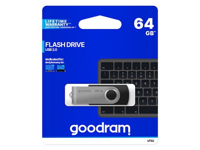 Goodram USB flash disk, USB 2.0, 64GB, UTS2, černý, UTS2-0640K0R11, USB A, s otočnou krytkou