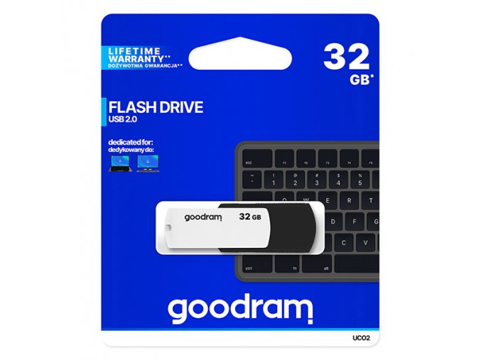 Goodram USB flash disk, USB 2.0, 32GB, UC02, černý, UCO2-0320KWR11, USB A, s otočnou krytkou