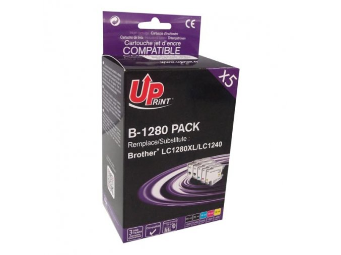 UPrint kompatibilní ink s LC-1280XL, 2xblack/1xcyan/1xmagenta/1xyellow, B-1280 PACK, high capacity, pro Brother MFC-J6910DW