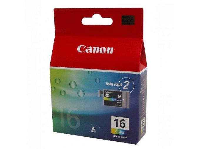 Canon originální ink BCI16C, color, 2*100str., 9818A020, 9818A002, Canon 2-pack Pixma i90, Selphy D8706, DS810, CP500, DS700
