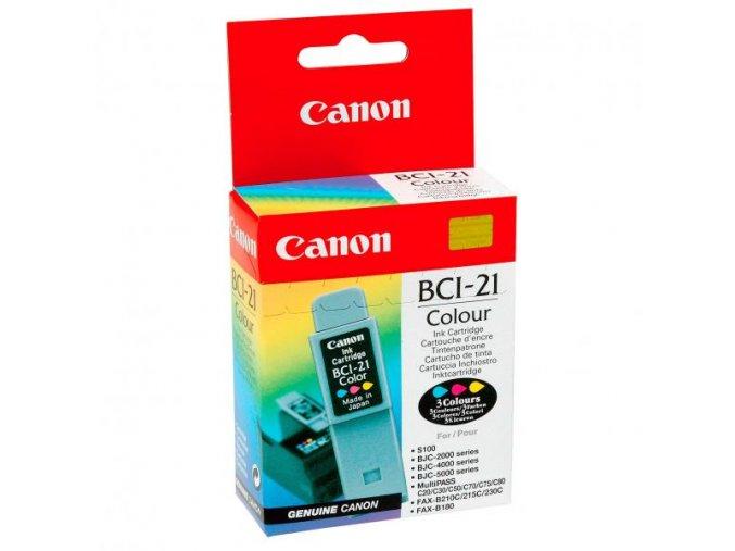Canon originální ink BCI21C, color, blistr, 120str., 0955A351, Canon BJ-C4000, 2000, 4100, 4400, 4650, 5500