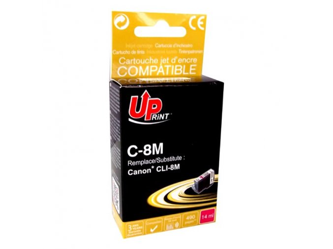 UPrint kompatibilní ink s CLI8M, magenta, 14ml, C-8M, s čipem, pro Canon iP4200, iP5200, iP5200R, MP500, MP800
