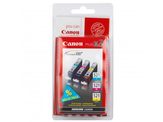 Canon originální ink CLI521, cyan/magenta/yellow, blistr, 3x9ml, 2934B010, 2934B007, Canon iP3600, iP4600, MP620, MP630, MP980