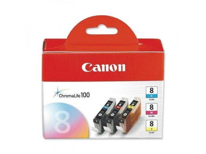 Canon originální ink CLI8CMY, cyan/magenta/yellow, 0621B029, 0621B026, Canon 3-pack C/M/Y iP4200, iP5200, iP5200R, MP500, MP800