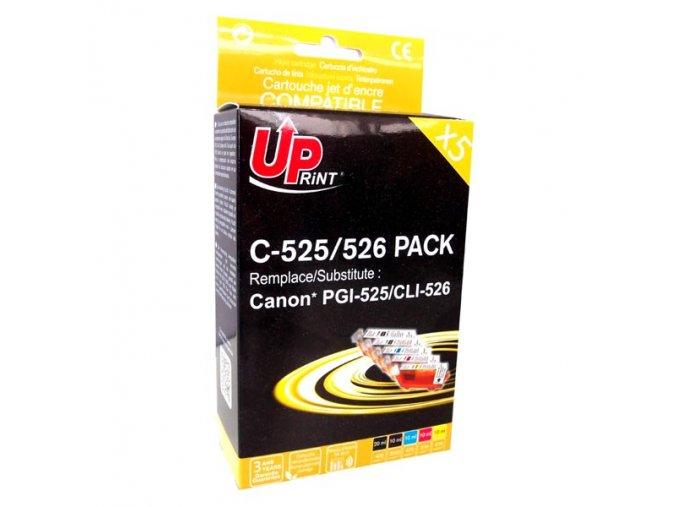 UPrint kompatibilní ink s CLI526, 2xblack/1xcyan/1xmagenta/1xyellow, C-525/526 PACK, s čipem, pro Canon Pixma  MG5150, MG5250, MG6