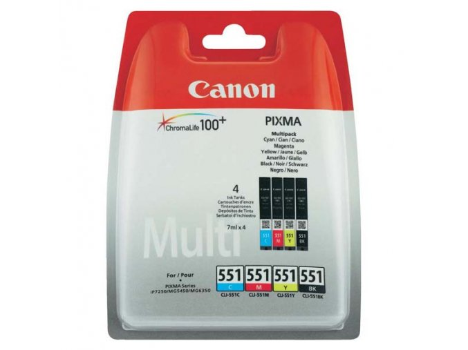 Canon originální ink CLI551, 6509B009, CMYK, blistr, Canon PIXMA iP7250, MG5450, MG6350, MG7550