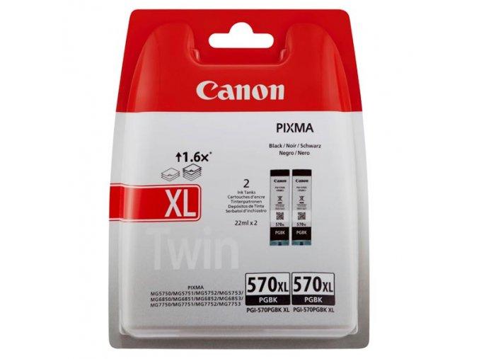 Canon originální ink PGI 570PGBK XL Twin Pack, black, blistr s ochranou, 22ml, 0318C007, 2-pack Canon Pixma MG7750,7751,7752,7753,