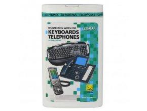 Čisticí trhací ubrousky, na klávesnice a telefony, dóza, dezinfekční, 50 ks, LOGO