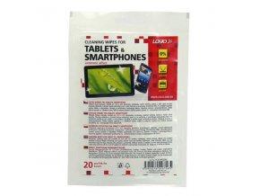 Čisticí ubrousky, na tablet, smartphone, uzavíratelný plastový sáček, 20 ks, LOGO
