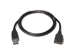 Kabel USB (2.0), USB A M- USB A F, 0.3m, černý/bílý