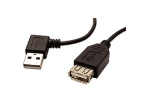Kabel USB (2.0), USB A M- USB A F, 0.3m, lomený 90°(VLEVO), černý