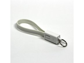 Kabel USB (2.0), USB A M- USB micro B M, 0.2m, bílý, Logo, blistr, klíčenka