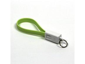 Kabel USB (2.0), USB A M- USB micro M, 0.2m, světle zelená, Logo, blistr, klíčenka
