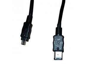 FireWire kabel IEEE 1394, IEEE 1394 (6pin) M- IEEE 1394 (4pin) M, 2m, černý