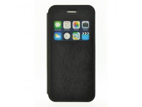 Pouzdro na iPhone 6, černé, polyuretan, s okenkém