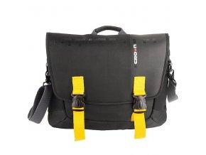 """Messenger na notebook 15,6"""", černá se žlutými prvky z nylonu, NT012, Crown"""