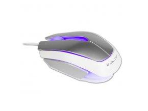 E-Blue Myš Mood, 2400DPI, optická, 3tl., 1 kolečko, drátová USB, stříbrná, 3 barvy podsvícení