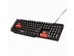 RED FIGHTER Klávesnice K1, herní, černá, drátová (USB), US, podsvícená, 3 barvy podsvícení