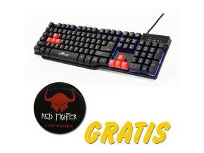 RED FIGHTER K1, Klávesnice US, herní, podsvícená, s dárkem typ drátová (USB), černá, 3 barvy podsvícení