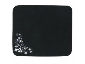 Podložka pod myš, Flower edition, měkký povrch, černá, 24x22 cm, Logo