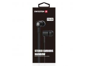 SWISSTEN YS-D2, sluchátka s mikrofonem, bez ovládání hlasitosti, černá, 3.5 mm jack špuntová