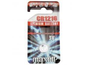 Baterie lithiová, konflíková, CR1216, 3V, Maxell, blistr, 1-pack