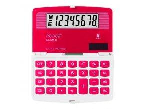 Rebell Kalkulačka Clam 8 red, červená, kapesní, osmimístná