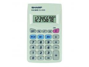 Sharp Kalkulačka EL-233S, bílá, kapesní, osmimístná