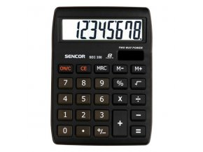 Sencor Kalkulačka SEC 350, černá, stolní, osmimístná, velký displej