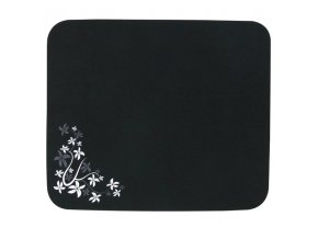 Podložka pod myš, Flower edition, měkký povrch, černá, 25x21,50 cm