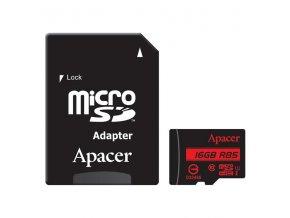 Apacer paměťová karta Secure Digital, 16GB, micro SDHC, AP16GMCSH10U5-R, UHS-I U1 (Class 10), s adaptérem