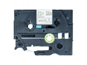 Brother originální páska do tiskárny štítků, Brother, TZE-R234, zlatý tisk/bílý podklad, 4m, 12mm, pruhovaná