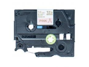 Brother originální páska do tiskárny štítků, Brother, TZE-RE34, zlatý tisk/růžový podklad, 4m, 12mm, pruhovaná