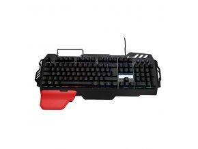 RED FIGHTER Klávesnice K2, herní, černá, drátová (USB), CZ/SK, podsvícená, výměnná područka, stojánek na mobil