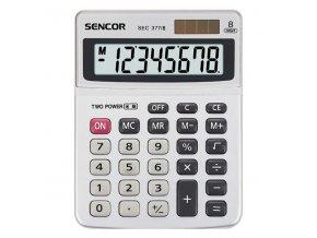 Sencor Kalkulačka SEC 377/8, šedá, stolní, osmimístná, duální napájení, kovový štítek pro větší odolnost