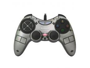 Gamepad Defender Zoom, 10tl., USB, šedý, vibrační, Windows XP/VISTA/7/8/10