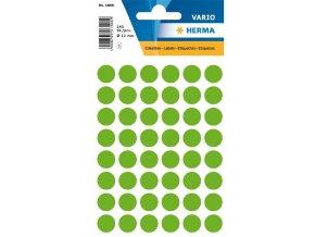Etikety Herma neon zelené kolečko 12mm 240ks SLEVA