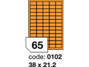 Etiketa 38x21.2 mm oranžová FLUOrescentní laser/copy Office