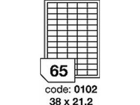Etiketa 38x21.2 mm LASER MATNÁ BÍLÁ polyesterová R0502