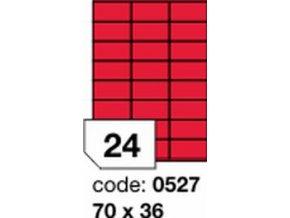 Etiketa 70x36 mm červená FLUOrescentní laser/copy Office