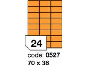 Etiketa 70x36 mm oranžová FLUOrescentní laser/copy Office