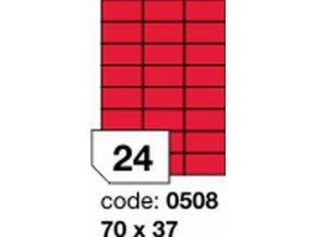 Etiketa 70x37 mm červená FLUOrescentní laser/copy Office