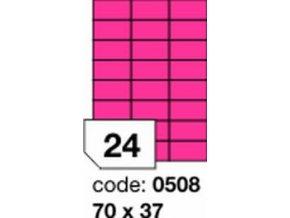Etiketa 70x37 mm růžová FLUOrescentní laser/copy Office