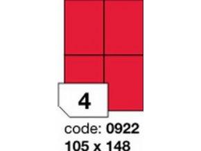 Etiketa 105x148.5 mm červená FLUOrescentní laser/copy Office